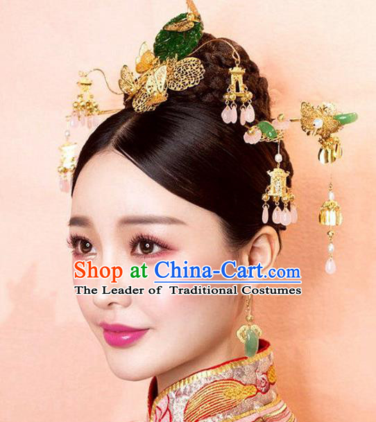 Top Grade Chinese Wedding Hair Accessories Hanfu Phoenix Coronet Hairpins for Women