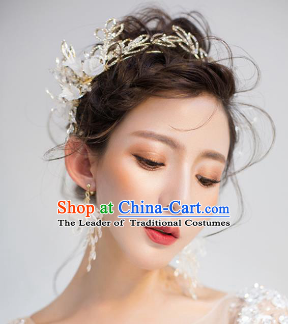 Top Grade Wedding Hair Accessories Golden Hair Clasp Bride Crystal Royal Crown for Women