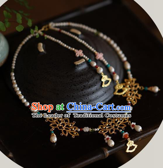 Handmade Chinese Traditional Accessories Hanfu Wedding Pearls Lotus Necklace for Women