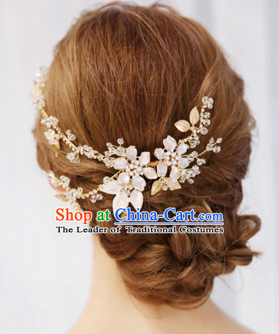 Top Grade Wedding Hair Accessories Bride Golden Crystal Hair Comb for Women