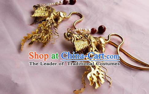 Chinese Traditional Hair Accessories Ancient Empress Golden Crane Tassel Hairpins for Women