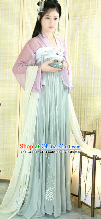 Chinese Tang Dynasty Princess Costume Ancient Maidenform Embroidered Hanfu Dress for Women