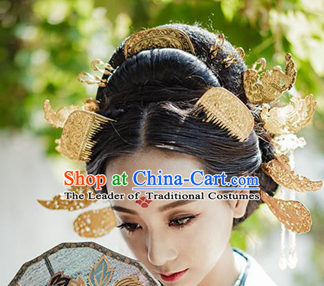 Chinese Traditional Hair Accessories Ancient Empress Golden Hair Comb Hairpins for Women