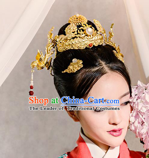 Chinese Traditional Hair Accessories Ancient Empress Hairpins Headwear Complete Set for Women