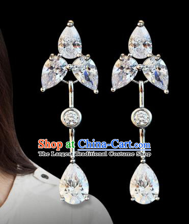 Top Grade Wedding Bride Jewelry Accessories Princess Crystal Earrings for Women