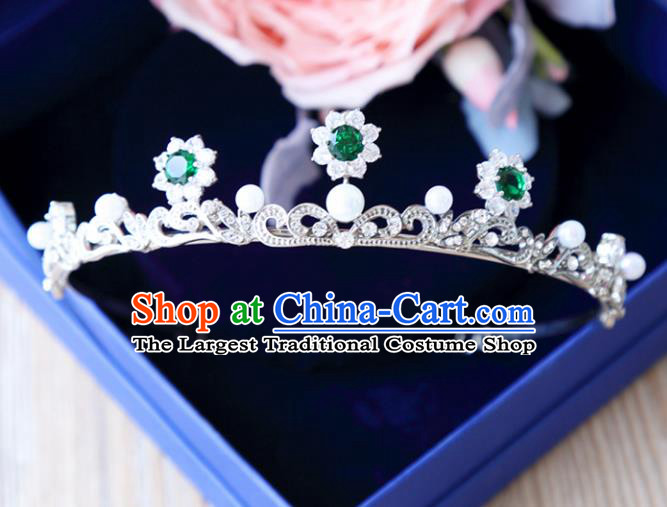 Top Grade Wedding Bride Hair Accessories Princess Green Crystal Hair Clasp Royal Crown for Women