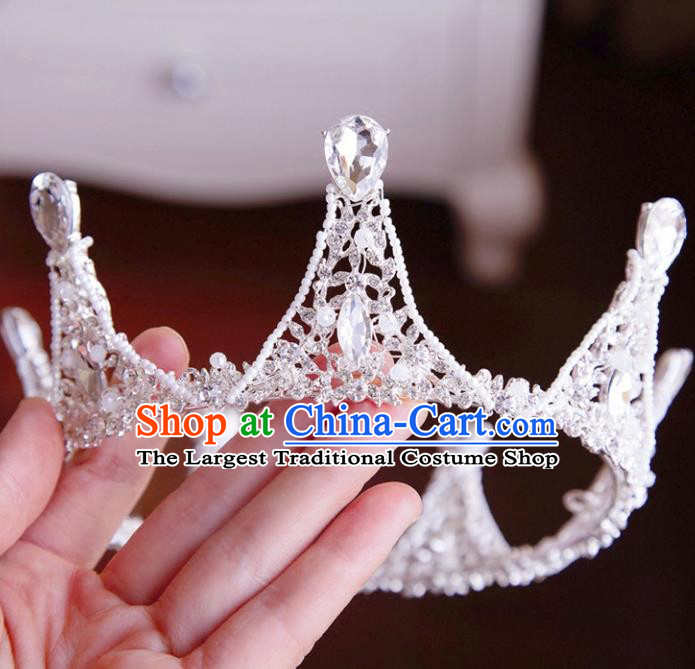 Top Grade Wedding Bride Hair Accessories Princess Hair Clasp Crystal Round Royal Crown for Women