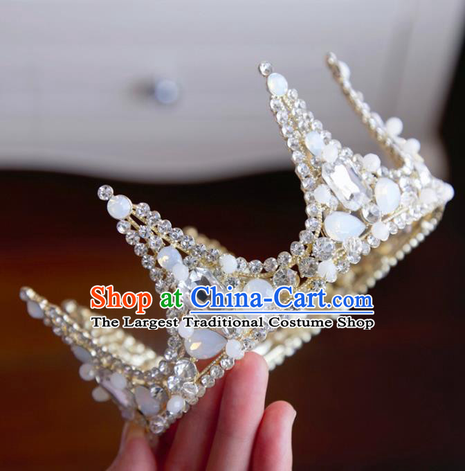 Top Grade Wedding Bride Hair Accessories Princess Hair Clasp Opal Round Royal Crown for Women
