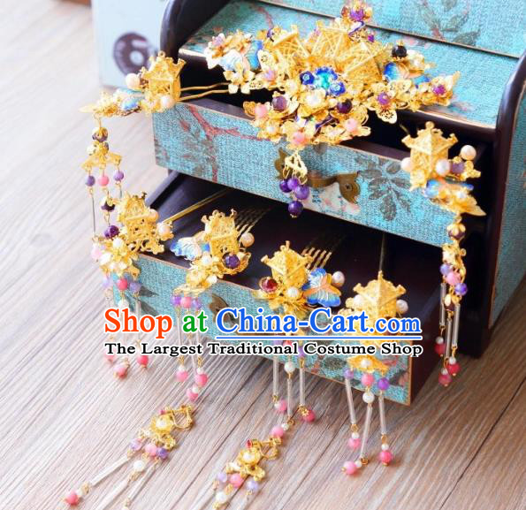 Top Grade Chinese Wedding Bride Hair Accessories Ancient Hairpins Headwear Complete Set for Women
