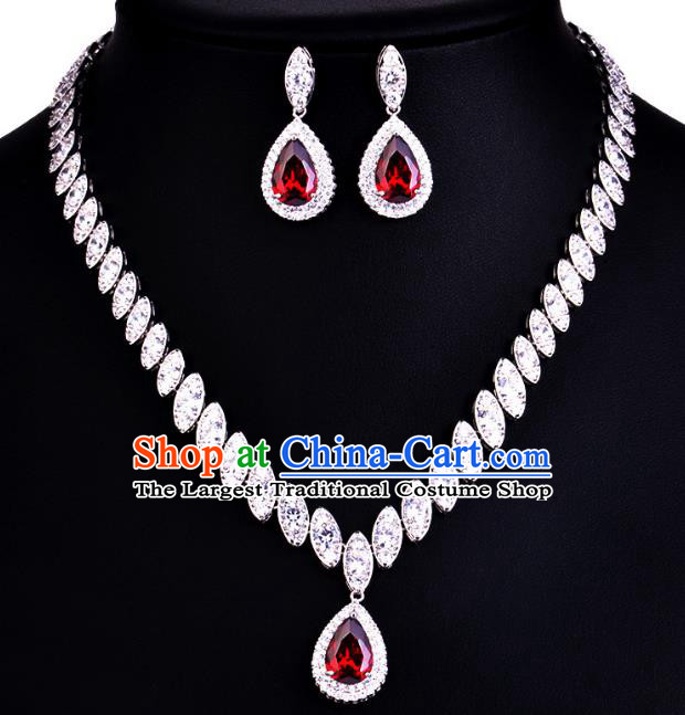 Top Grade Wedding Bride Jewelry Accessories Red Crystal Necklace and Earrings for Women