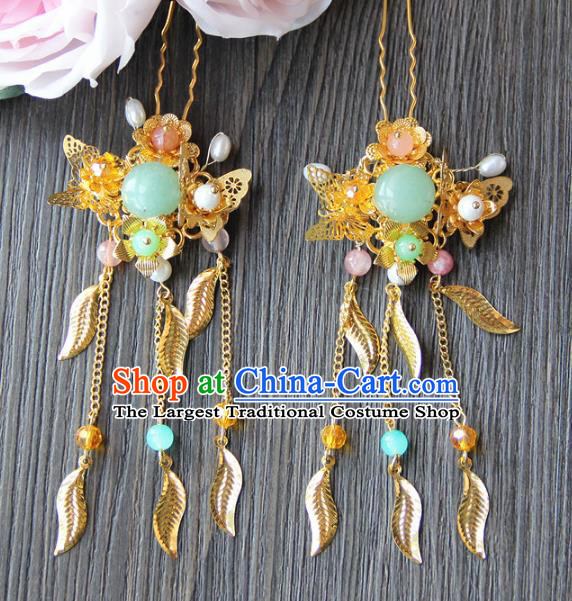 Top Grade Chinese Wedding Hair Accessories Ancient Bride Butterfly Tassel Hairpins for Women