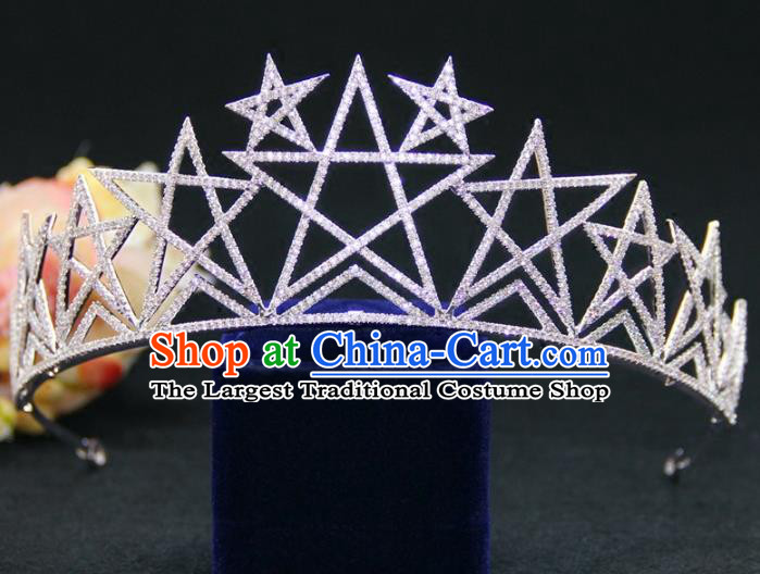 Top Grade Baroque Palace Princess Zircon Star Royal Crown Wedding Bride Hair Accessories for Women