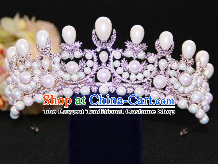 Top Grade Baroque Princess Zircon Pearls Royal Crown Wedding Bride Hair Accessories for Women