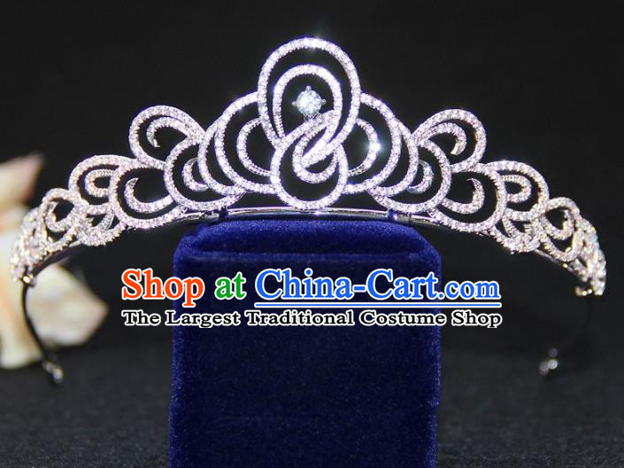 Top Grade Baroque Queen Zircon Royal Crown Wedding Bride Hair Accessories for Women