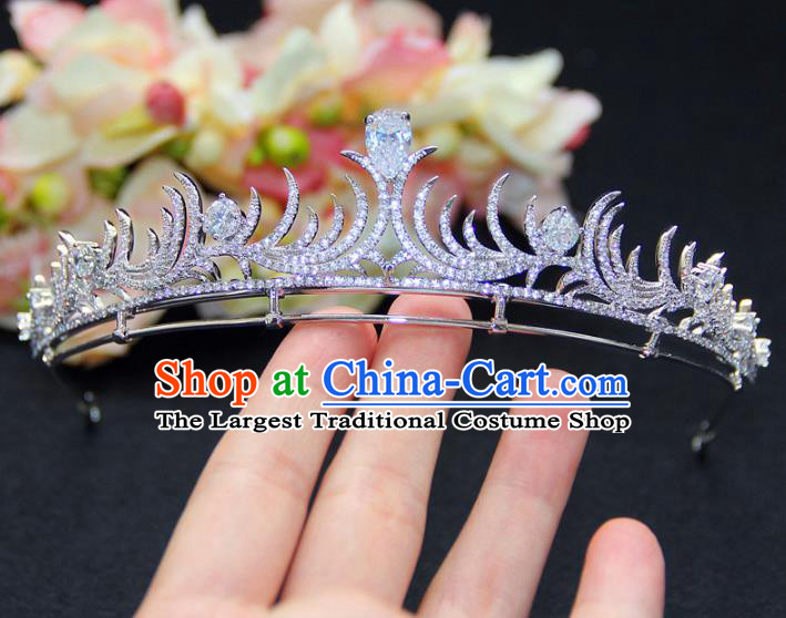 Top Grade Baroque Queen Royal Crown Wedding Bride Zircon Hair Accessories for Women