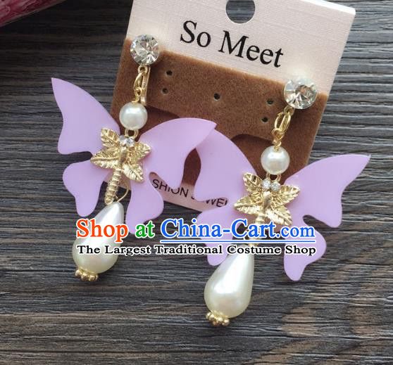 Top Grade Wedding Bride Jewelry Accessories Purple Butterfly Pearl Earrings for Women