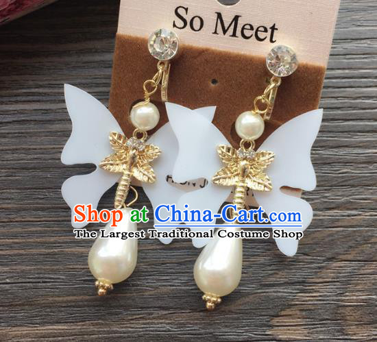 Top Grade Wedding Bride Jewelry Accessories White Butterfly Pearl Earrings for Women