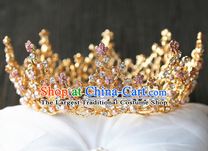 Top Grade Wedding Bride Hair Accessories Baroque Queen Golden Royal Crown for Women