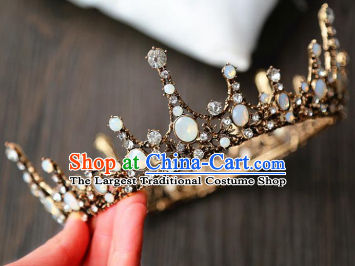 Top Grade Wedding Bride Hair Accessories Baroque Queen Black Royal Crown for Women