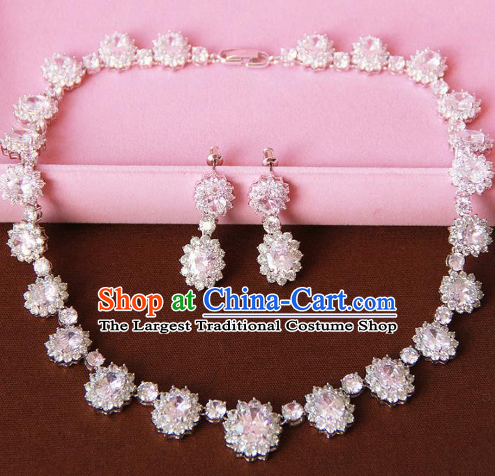 Top Grade Wedding Bride Jewelry Accessories Zircon Crystal Necklace and Earrings for Women