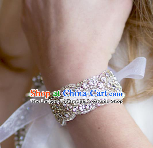 Handmade Wedding Waist Accessories Baroque Bride Crystal Wristlet Bracelet for Women