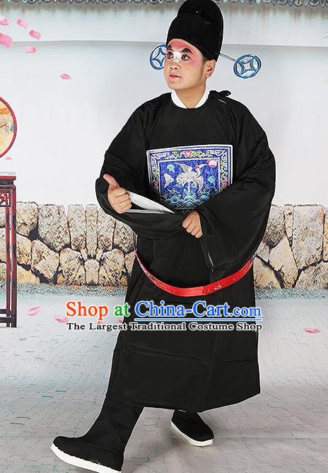 Professional Chinese Beijing Opera Costumes Peking Opera Sesame Official Black Robe and Boots for Adults