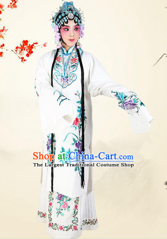Professional Chinese Beijing Opera Costumes Ancient Peking Opera Actress White Clothing for Adults