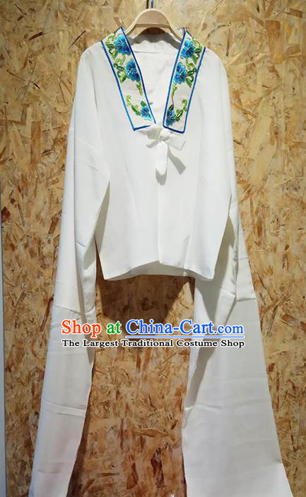 Professional Chinese Beijing Opera Costumes Ancient Peking Opera Actress Embroidered Water Sleeve White Blouse for Adults