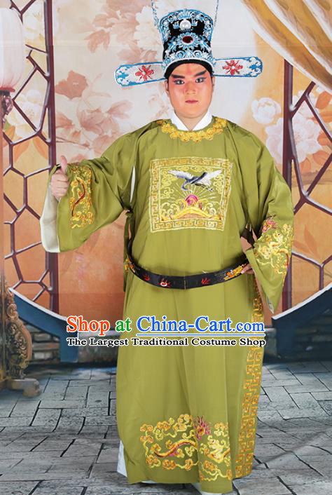 Professional Chinese Beijing Opera Costumes Peking Opera Green Gwanbok Robe and Hat for Adults