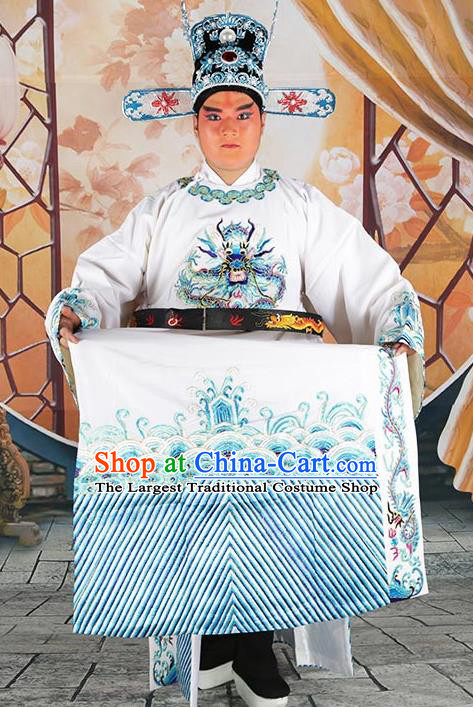 Professional Chinese Beijing Opera Costumes Peking Opera Minister White Gwanbok Robe and Hat for Adults