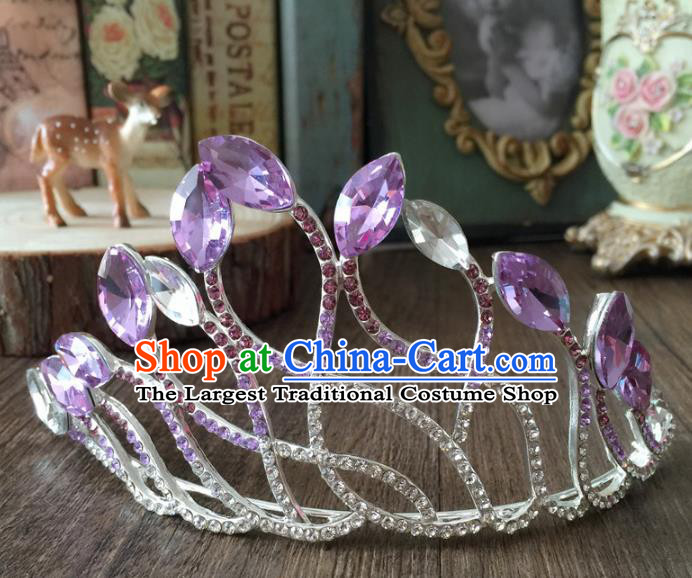 Top Grade Baroque Queen Purple Crystal Royal Crown Wedding Bride Hair Accessories for Women