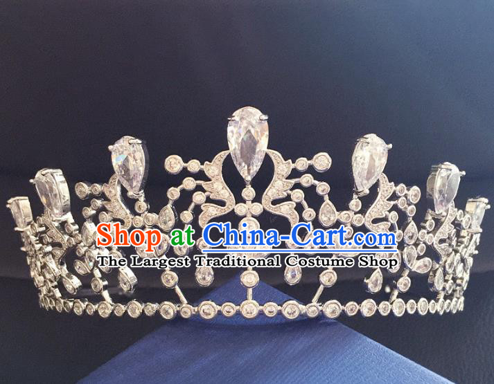 Top Grade Baroque Queen Crystal Royal Crown Wedding Bride Hair Accessories for Women