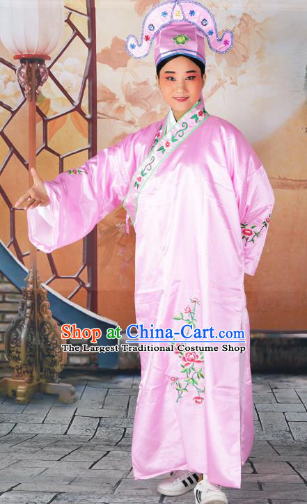 Professional Chinese Beijing Opera Costumes Peking Opera Gifted Scholar Pink Robe and Hat for Adults