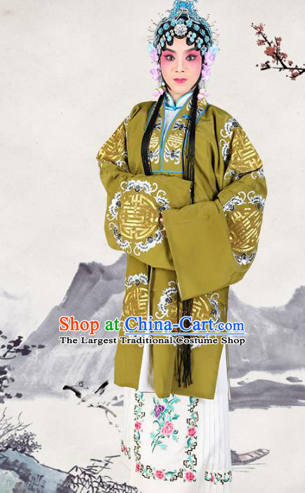 Professional Chinese Traditional Beijing Opera Pantaloon Embroidered Plum Blossom Green Costumes for Adults