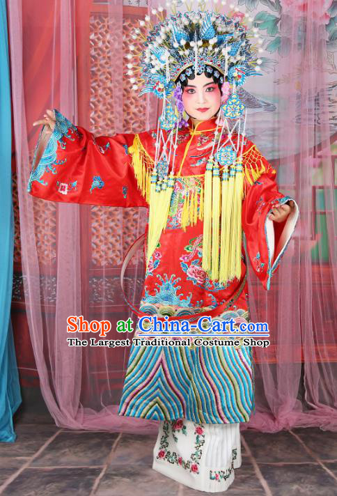 Professional Chinese Traditional Beijing Opera Imperial Consort Wedding Red Costumes and Phoenix Coronet for Adults