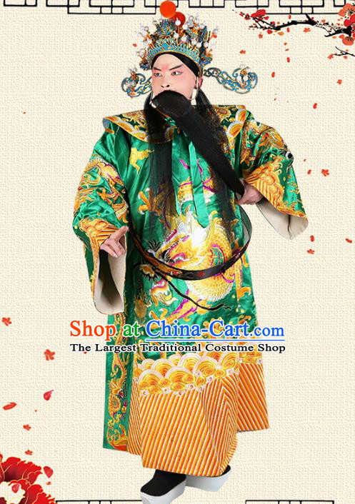 Professional Chinese Beijing Opera Costume Peking Opera Prime Minister Green Gwanbok Robe and Hat for Adults