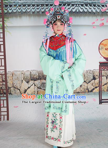 Professional Chinese Beijing Opera Diva Embroidered Green Costumes Red Shawl Clothing and Headwear for Adults