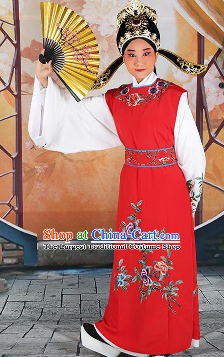 Professional Chinese Peking Opera Niche Costume Huangmei Opera Jia Baoyu Red Robe and Hat for Adults