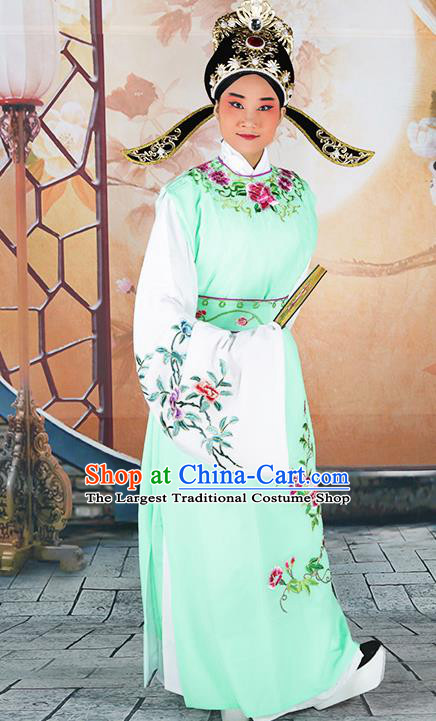 Professional Chinese Peking Opera Niche Costume Huangmei Opera Jia Baoyu Green Robe and Hat for Adults