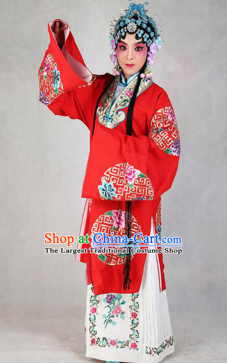 Professional Chinese Beijing Opera Diva Embroidered Costumes Peking Opera Red Dress for Adults