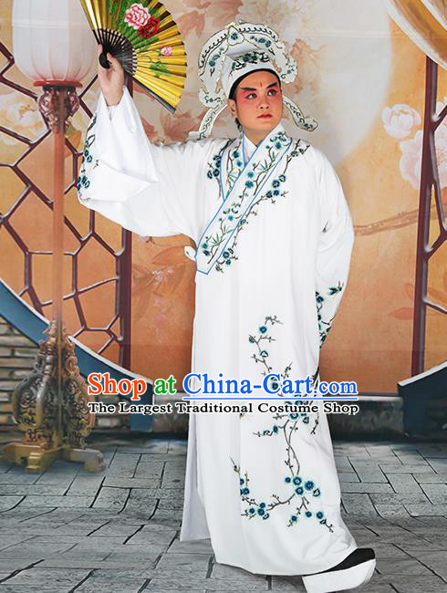 Professional Chinese Peking Opera Niche Costume Traditional Peking Opera Plum Blossom White Robe and Hat for Adults