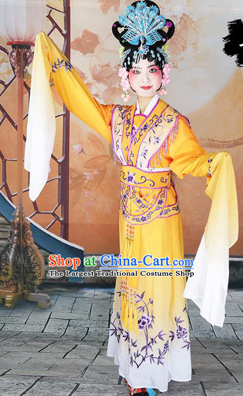Professional Chinese Beijing Opera Diva Embroidered Costumes Peking Opera Fairy Yellow Dress for Adults