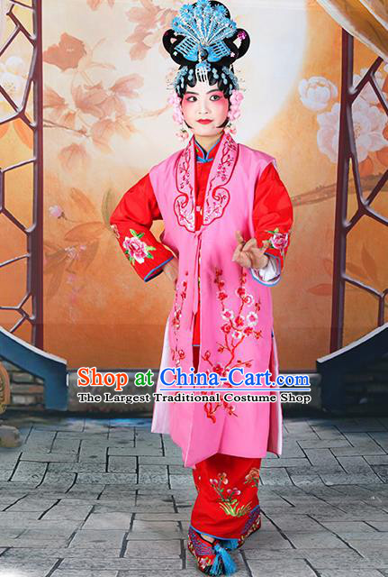 Professional Chinese Beijing Opera Maidservants Embroidered Plum Blossom Rosy Costumes for Adults