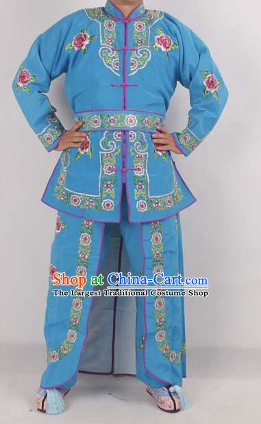 Professional Chinese Peking Opera Female Warrior Costume Ancient Swordswoman Embroidered Blue Clothing for Adults