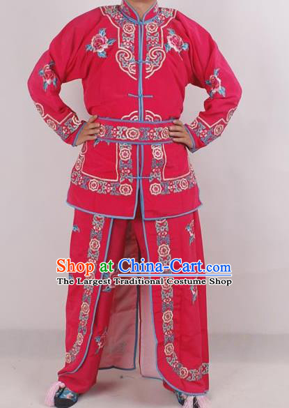 Professional Chinese Peking Opera Female Warrior Costume Ancient Swordswoman Embroidered Rosy Clothing for Adults