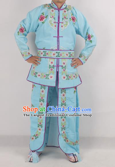 Chinese Peking Opera Female Warrior Blue Costume Ancient Swordswoman Embroidered Clothing for Adults