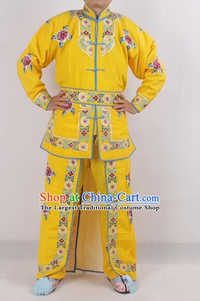 Chinese Peking Opera Female Warrior Yellow Costume Ancient Swordswoman Embroidered Clothing for Adults