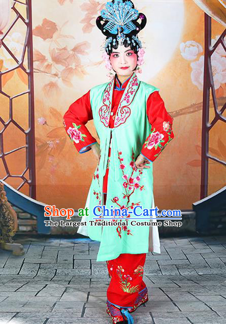 Professional Chinese Beijing Opera Maidservants Embroidered Plum Blossom Green Costumes for Adults