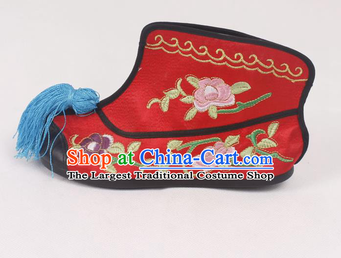 Chinese Traditional Beijing Opera Embroidered Boots Peking Opera Blues Red Cloth Shoes for Women