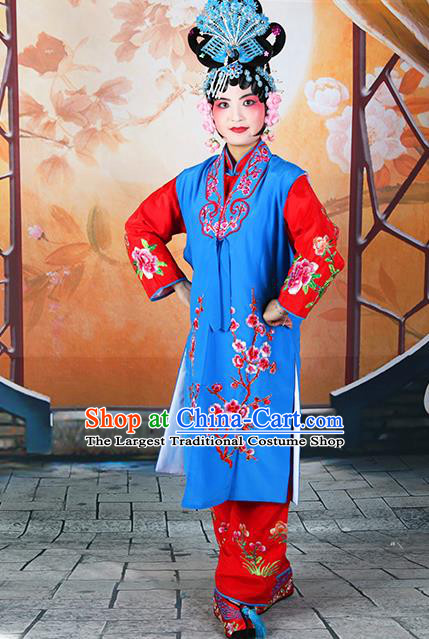 Professional Chinese Beijing Opera Maidservants Embroidered Plum Blossom Deep Blue Costumes for Adults